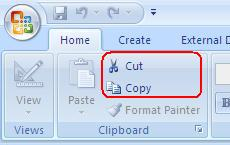 Cut / Paste - Access Tab Home